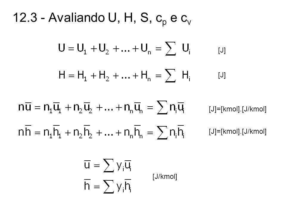 12.3 - Avaliando U, H, S, cp e cv [J] [J]=[kmol].[J/kmol]